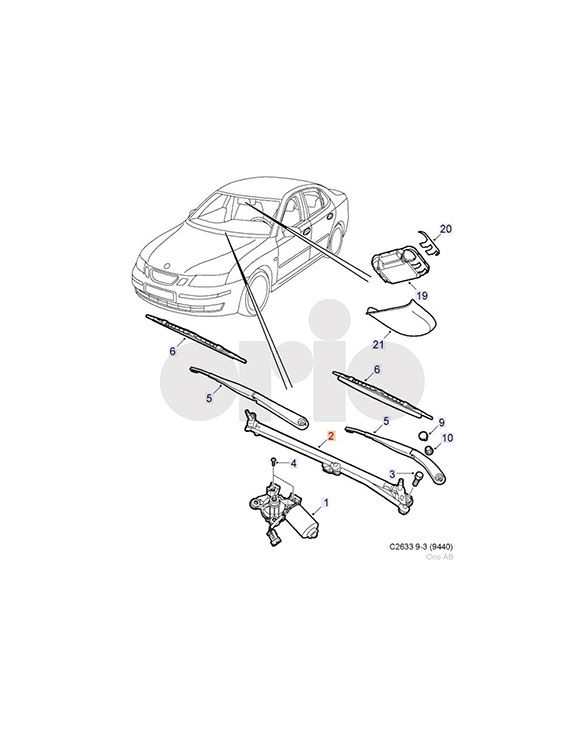 Wiper Linkage (RHD) for 9-3 models (05-12)